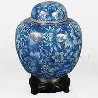 China Light Blue Cloisonn Cremation Urn