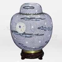 China Nightscape Cloisonn Cremation Urn