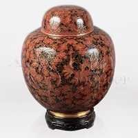 China Red Cloisonn Cremation Urn