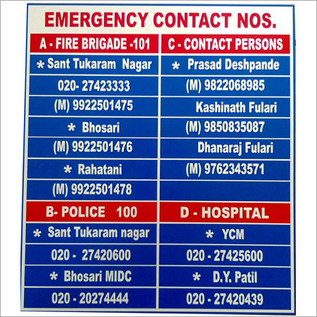 Emergency Contact Display Board
