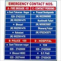 Emergency Contact Display Board