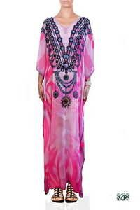 Digital Print Long Embellished Maxi Kaftan