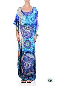 Digital Print Pearls Long Embellished Kaftans