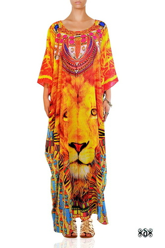 Animal print Long embellished Kaftan Dress