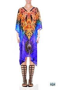 Feather Design Embellished Short Kaftan