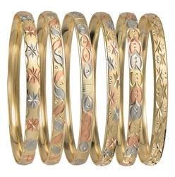 Oro Laminado Tri Bangles