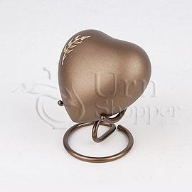 Aria Wheat Brass Metal Heart Token Cremation Urn