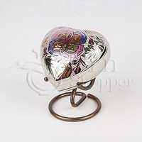 Lattice Floral Heart Brass Token Cremation Urn