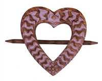 Set of 2 Shabby Chic Mango Wood Heart Shaped Curtain Tie Backs Drape Binds Lovely Home Decor