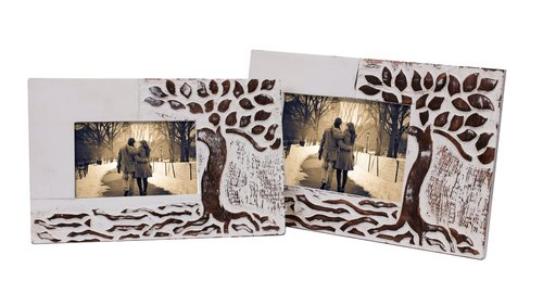Hand Carved Set Of 2 Wooden Photo