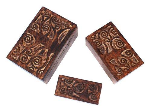 Set Of 3 Hand Carved Trinket Jewelery