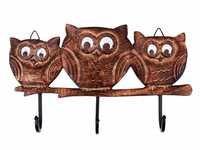 Rustic Vintage Style Triple Owl Wall key Holder Hook