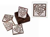 White Distress Finish Wooden Coasters Hand Carved Heart