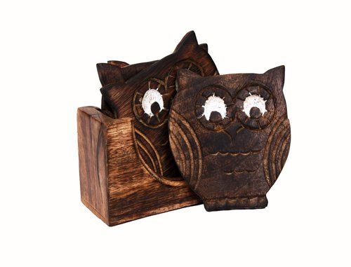 Handcarved Owl Shaped Wooden Coasters Gift Ideas