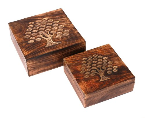 Wood Jewelery Keepsake Handcarved with Tree Of Life