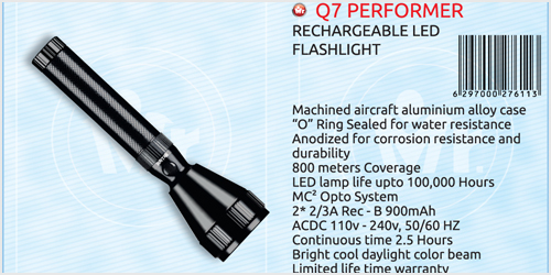 Mr. Light Q7 Performer Rechargeable LED Flash Light