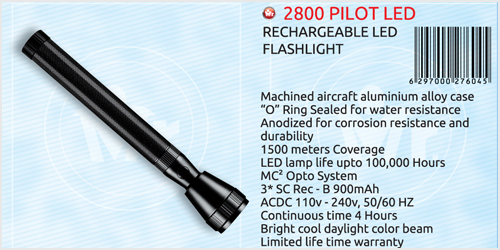Mr. Light 2800 Pilot Rechargeable LED Torch