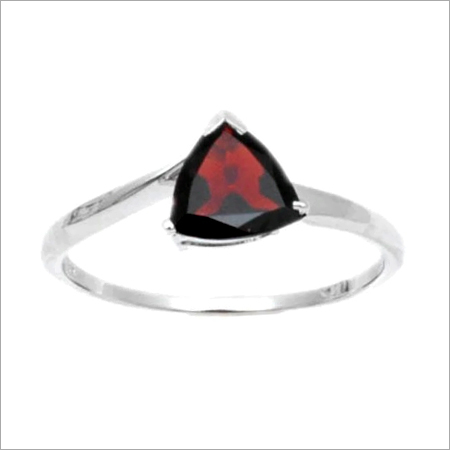 Sterling Silver Garnet Single Stone Rings