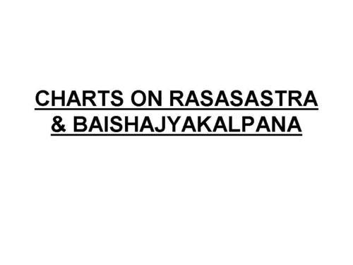CHARTS ON RASASASTRA & BAISHAJYAKALPANA