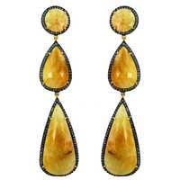 Multi Sapphire Diamond Gold Earrings