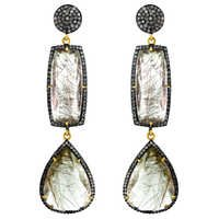 Diamond Rutile Gold Earrings