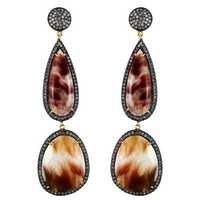 Gold Rutile Diamond Earrings