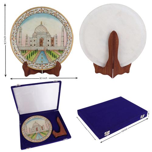 Taj Mahal on marble plate hand painted