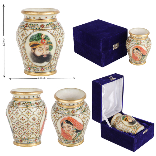 Marble Pot with Miniature Painting