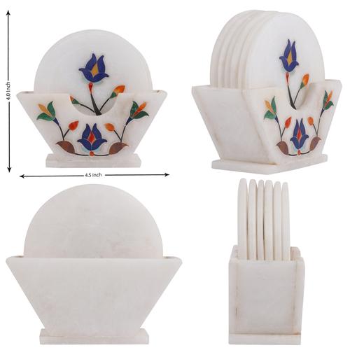 Marble enlay tea coaster