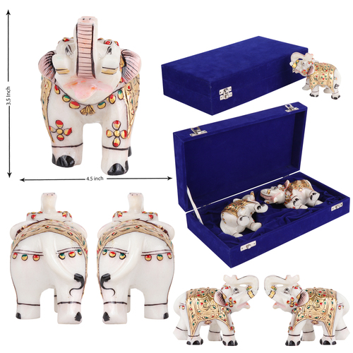 Marble Elephant Pair decorated in traditional sty