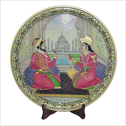 Painting of Shahjahan-Mumtaz & Taj Mahal On marble
