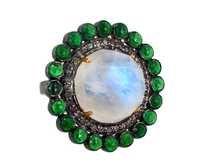 Moonstone Tsavorite Diamond Gold Ring