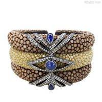 Blue Sapphire Diamond Silver Bangle