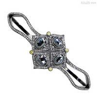 Black Spinel Diamond Gold Bracelet