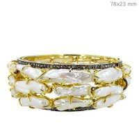 Pearl Diamond Gold Bangle