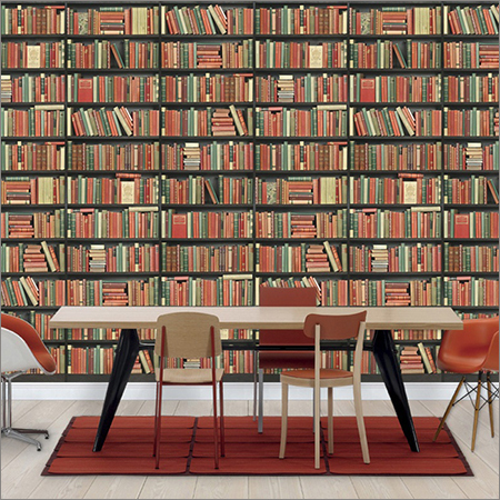 3D Bookcase Wallpaper