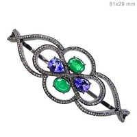 Emerald Tanzanite Diamond Silver Bangle