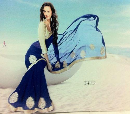 Designer Blue Saree