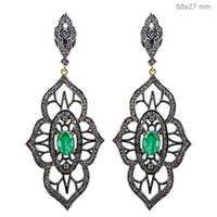 Emerald Diamond Gold Earrings