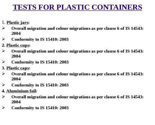 Tests For Plastic Containers