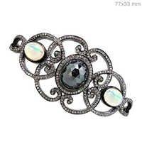 Black Spinel Opal Diamond Silver Silver Bracelet