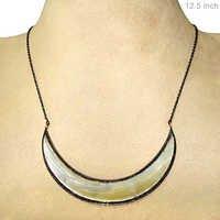 MOP Diamond Silver Necklace