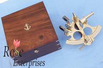 Nautical Brass Sextant With Wooden Box
