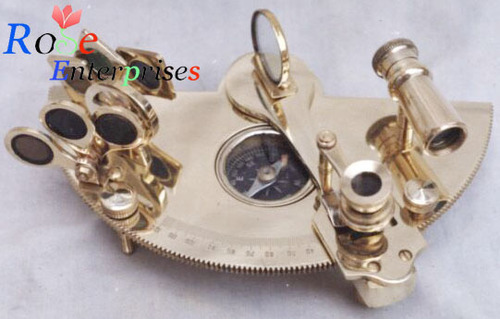 Nautical Brass Sextant with Compass