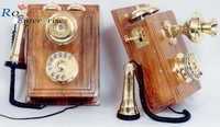 Antique Brass Telephone Wooden Box