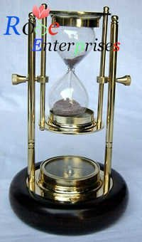 Brass Sand Timer wooden base with Compass