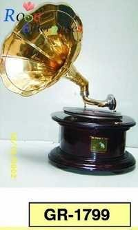 Antique Brass Gramophone with Wooden Base
