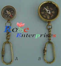 Nautical Brass Compass key Chain