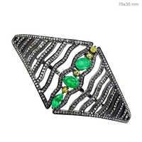 Emerald Diamond Silver Bracelet