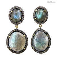 Labradorite Diamond Gold Earrings